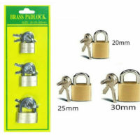 3pc Brass Travel Padlock Luggage Suitcase Bike Bag Locks 20/25/30mm