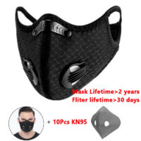 Bike Face Cover Mask with 10pcs Filter Anti Safety Men Women Pollution Anti-Fog