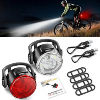 12Led USB Rechargeable Headlight Taillight Bike Bicycle Front & Rear Light