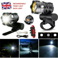 T6 LED MTB Front+Rear 15000LM Bicycle Lights Bike Headlight USB Rechargeable