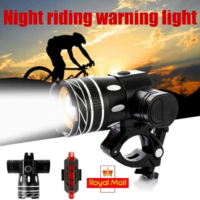 Rechargeable Bike Front+Rear Headlight 15000LM XM-L T6 LED MTB Bicycle Lights UK