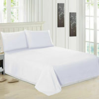 Luxury 100% Egyptian Cotton White Flat Sheets Bed Sheet Single Double King Size