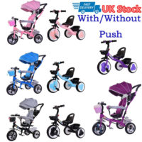 Children Tricycle 3 Wheels Boys Girls Kids Trike Ride-On Bike With/Without Push