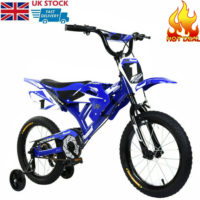16'' Wheels Children Kids Moto Bike Blue Bicycle For Boys Girls With Stabilisers