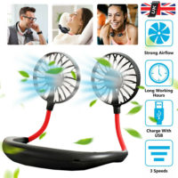 Lazy Neck Hanging Dual Mini Cooling Fan Sport Portable USB Rechargeable Neckband