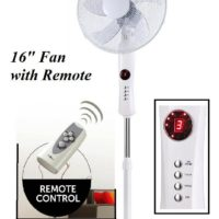 """16"""" White Free Stand Fan with Remote Control High Velocity Pedestal Cooling Fan"""
