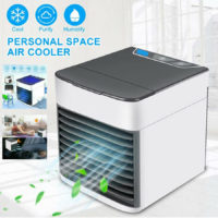 PORTABLE AIR COOLER HUMIDIFIER PURIFIER COLOR CHANGING LED FAN TRAVEL AIR CON UK