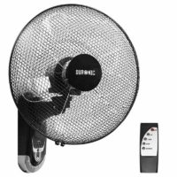 Duronic FN55 Wall Mounted 16 inch Oscillating Black Fan with Remote Control - 60