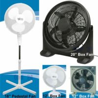 """12"""" 16"""" 20"""" PEDESTAL OSCILLATING BOX FAN COOLING FLOOR ELECTRIC SMALL X-LARGE"""