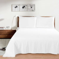 Luxury 100% Egyptian Cotton White Flat Sheet Bed Sheets Single Double King Size
