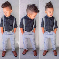 2Pcs Kids Boys Gentleman Shirt Tops + Suspender Pants Outfits Clothes Set Casual