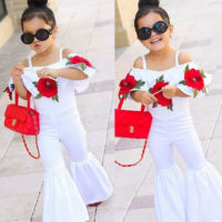 UK NEW Kid Baby Girl Off shoulder Flower Romper Jumpsuit Trousers Outfit Clothes