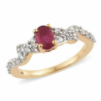 African Ruby, Natural Cambodian Ring 14k Gold O/lay S/Silver 1.25 Ct sz T,V