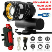 LED MTB Rear&Front Set 15000LM Bicycle Lights Bike Headlight USB Rechargeable UK