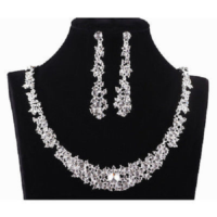 3. Wedding Jewellery - Clear Rhinestone / Diamante Necklace & Earring Set