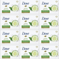 12x Dove Fresh Touch Cucumber & Green Tea Soap Bars