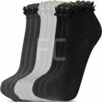 NEW WOMENS GIRLS 3 MULTI PACK LACE TOP FRILLY ANKLE TRAINER SOCKS SCHOOL SIZE