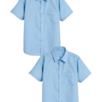 2 PACK SHORT SLEEVE SHIRTS BLUE BOYS KIDS SCHOOL UNIFORM EX UK BRAND (N*XT) 6-16