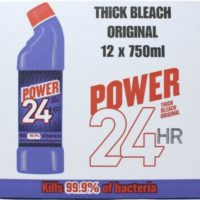 Power 24 Hour Original Thick Bleach Kills 99.9% Bacteria - 750ml X12 BULK PACK
