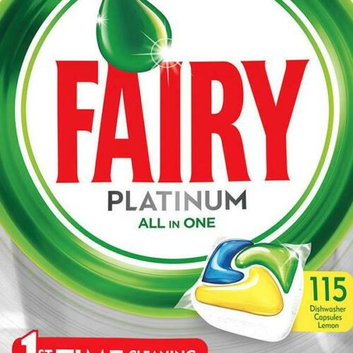 Fairy Platinum All In One Lemon Dishwasher Tablets Capsules, 115 Pack