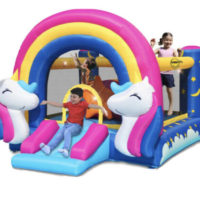 Happy Hop Unicorn Bouncy Castle with Slide and Interactive Hit Me Game 3+ Years