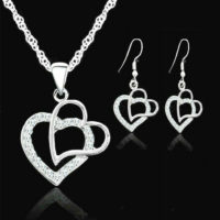 925 Sterling Silver Crystal Double Heart Pendant Necklace&Girl Earring Jewellery
