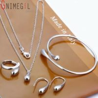 Ladies Silver Jewellery Set Necklace Quality Earrings Ring Bangle