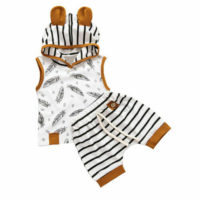 UK Newborn Baby Boys Girls Hooded Tops T-shirt+Striped Shorts Summer Clothes