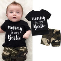 UK Infant Newborn Baby Boy T-shirt+Camouflage Shorts Pants Outfit Clothes Set XI