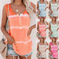 Women Tie Dye Striped Vest Tank Tops Ladies Camisole Cami Summer T Shirt Blouse