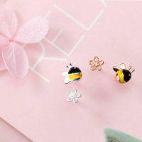 925 Silver Rose Gold Plated Honey Bee Daisy Flower Earrings Studs Bumblebee
