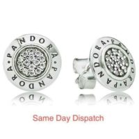 PANDORA STERLING SILVER SIGNATURE STUD ROUND EARRINGS 290559CZ