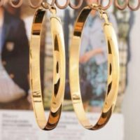 "9ct 9K Yellow "" Gold Filled"" Ladies Girls Large Plain Hoop Earrings . 65mm,2057"