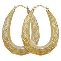 9CT YELLOW GOLD ON SILVER LARGE PATTERNED OVAL LADIES CREOLE HOOP EARRINGS -