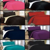 6PC COMPLETE REVERSIBLE DUVET COVER & FITTED SHEET BED SET
