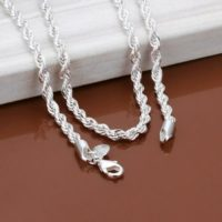 "3mm Silver Sterling 925 Twisted Rope Chain Necklace Length 16""/18""/20""/28""/30"""