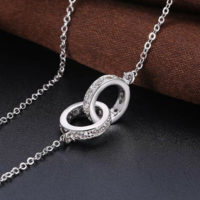 925 Sterling Silver Eternity Infinity Crystal Double Circles Pendant Necklace UK