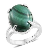 10ct Malachite Solitaire Ring in 925 Sterling Silver -UK Sizes K, L, M, R, T & V