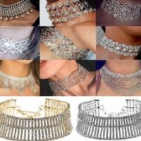 UK Noble Stylish Full Diamond Crystal Rhinestone Choker Collar Necklace Jewelry