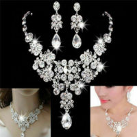 2. Wedding Jewellery - Clear Rhinestone / Diamante Necklace & Earring Set