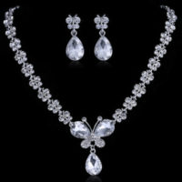 Prom Wedding Bridal Jewelry Butterfly Crystal Rhinestone Necklace Earring Sets