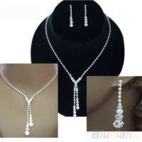 Wedding Bridal Clear Crystal Rhinestone Drop Necklace Earrings Jewelry Set Gift