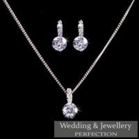 Bridesmaid Jewelry Set Wedding Jewellery Crystal Rhinestone Necklace Earrings UK