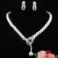 Crystal Rhinestone Pearl Pendant Necklace Earring Wedding Bridal Jewelry Set UK