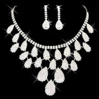 Wedding Jewellery Set Sparkling Diamante teardrop Necklace Stud Earrings SETS UK