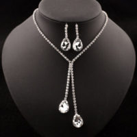 UK Wedding Bride Bridesmaid Jewelry Set Crystal Diamond Pendent Necklace Earring