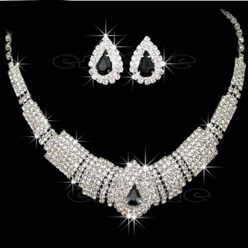 Unique Wedding Party Jewelry Set Bling Crystal Rhinestone Necklace Earrings Hot