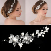 Fashion Women Beads Rhinestones Flower Wedding Bride Bridal hair Jewellery