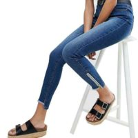 High Rise Womens Girls Skinny Jeans Mid Blue With Zipped Step Hem