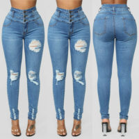 Womens Retro Ripped Jeans Trousers Ladies Skinny Slim Fit High Wasit Denim Pants